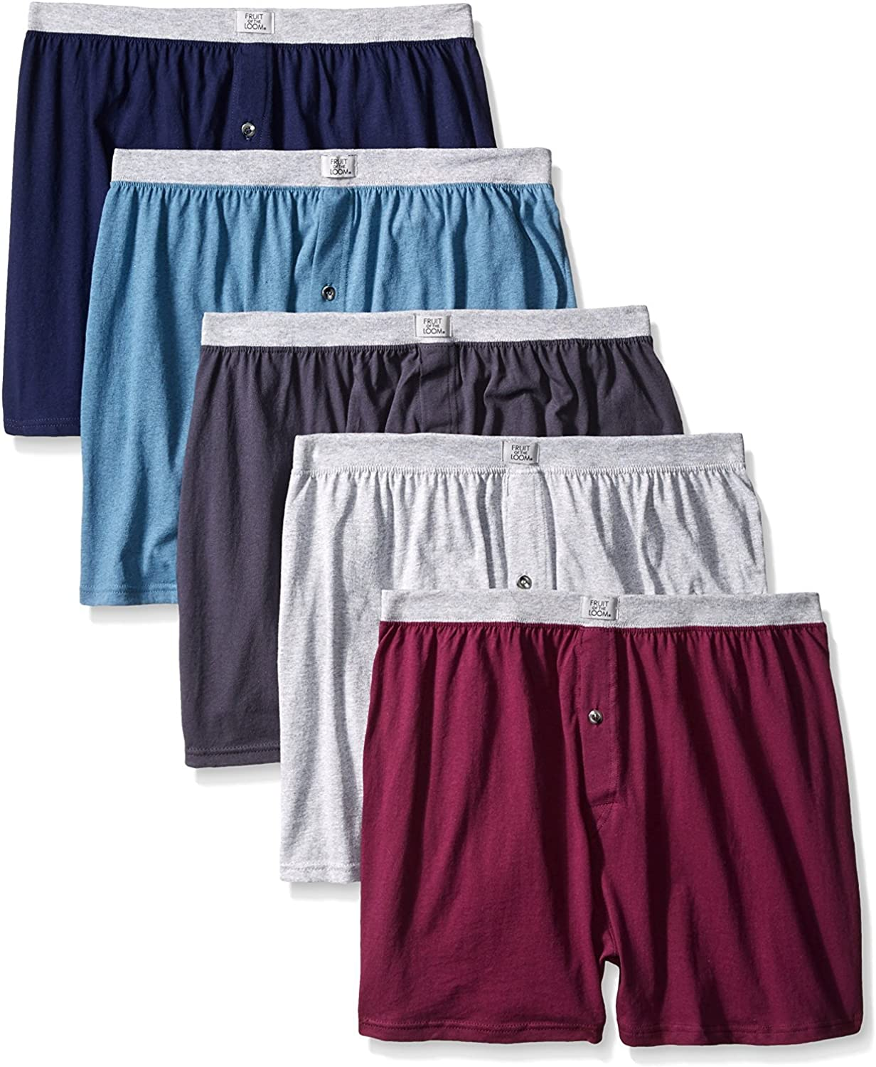 Multi Color Fruit of the Loom Mens 5Pack Knit Boxer Shorts Boxers Cotton Underwear 3XL
