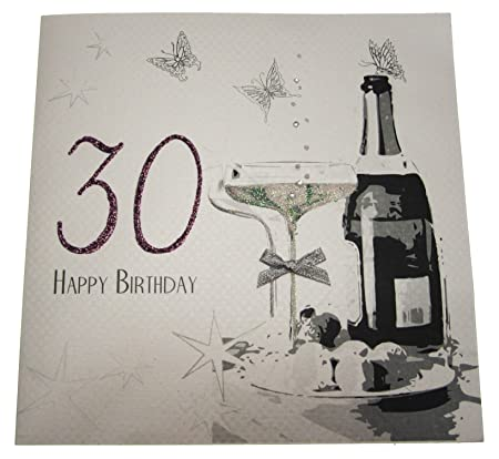 White cotton cards code xdsa30 large 30th birthday card champagne white cotton cards code xdsa30 large 30th birthday card champagne and chocolates bookmarktalkfo Images