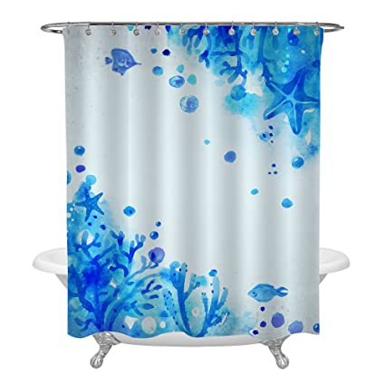 MitoVilla Cute Hand Painted Blue Marine Life Shower Curtain Ocean Theme With Fish Starfish Bubbles