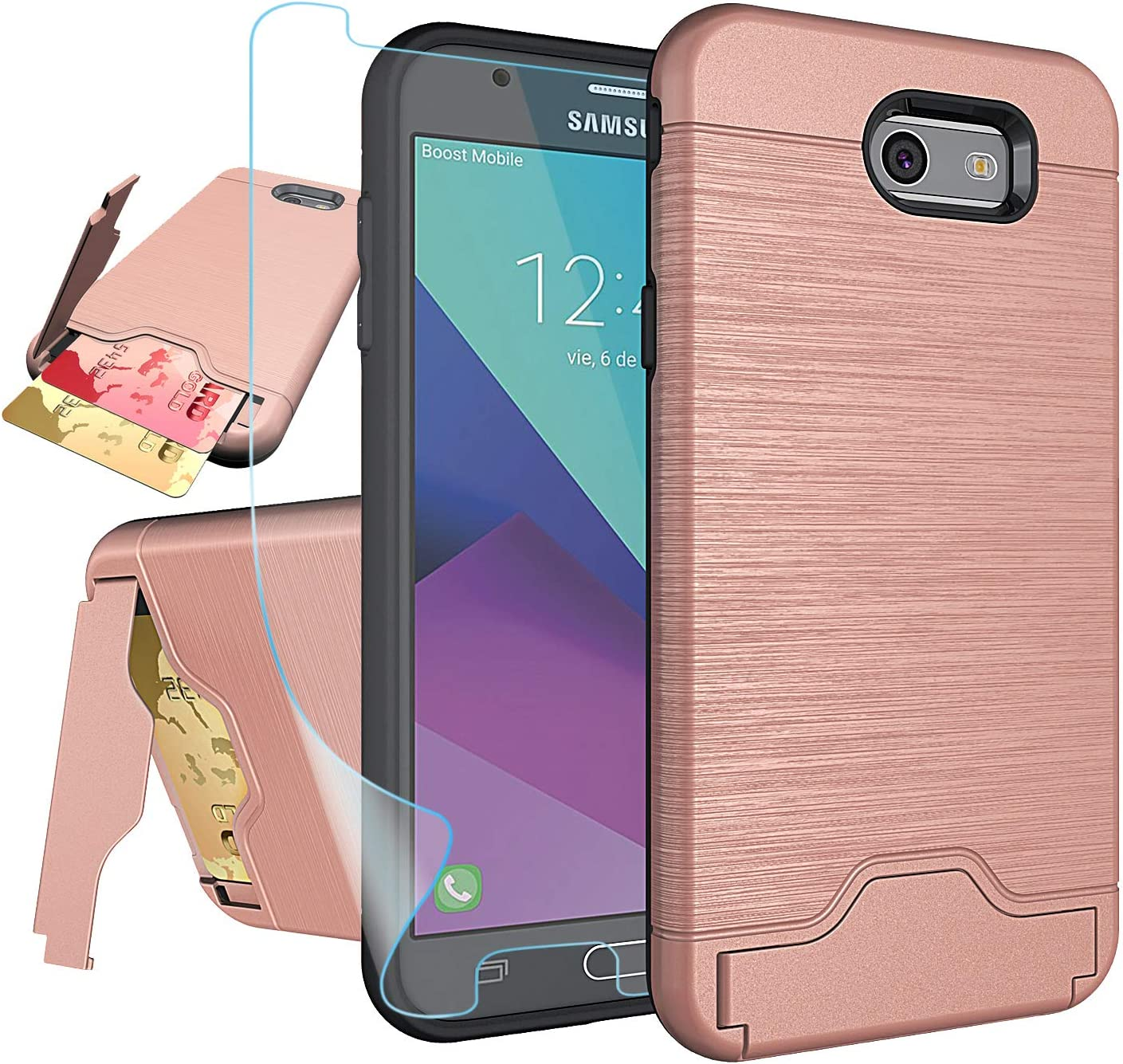 Galaxy J7 V 2017/ J7 Perx/J7 Prime/J7 Sky Pro/Halo Case with HD Screen Protector,NiuBox[Card Slot Wallet][Kickstand] Full Body Shock Absorption Protective Phone Case for Samsung J7V 2017-Rose Gold