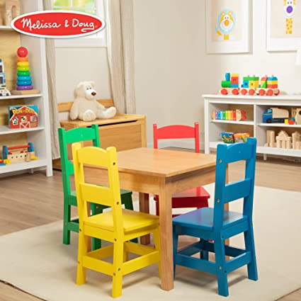 Swell Melissa Doug Kids Furniture Wooden Table 4 Chairs Primary Natural Table Yellow Blue Red Green Chairs Download Free Architecture Designs Lectubocepmadebymaigaardcom