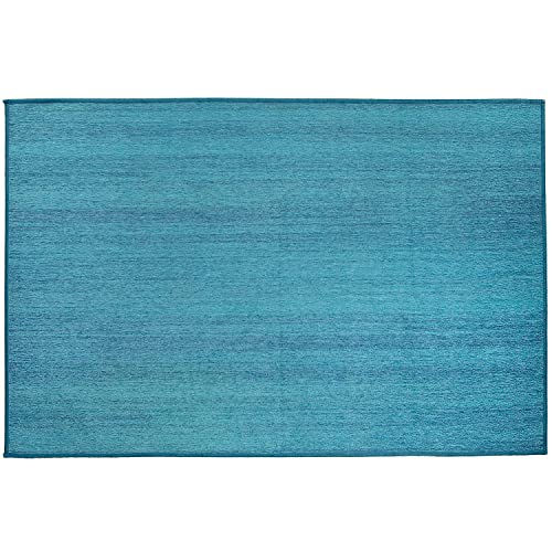 RUGGABLE Solid Textured Ocean Blue Washable Indoor Outdoor Stain Resistant 3 x5 36 x60 Accent Rug 2pc Set Cover and Pad