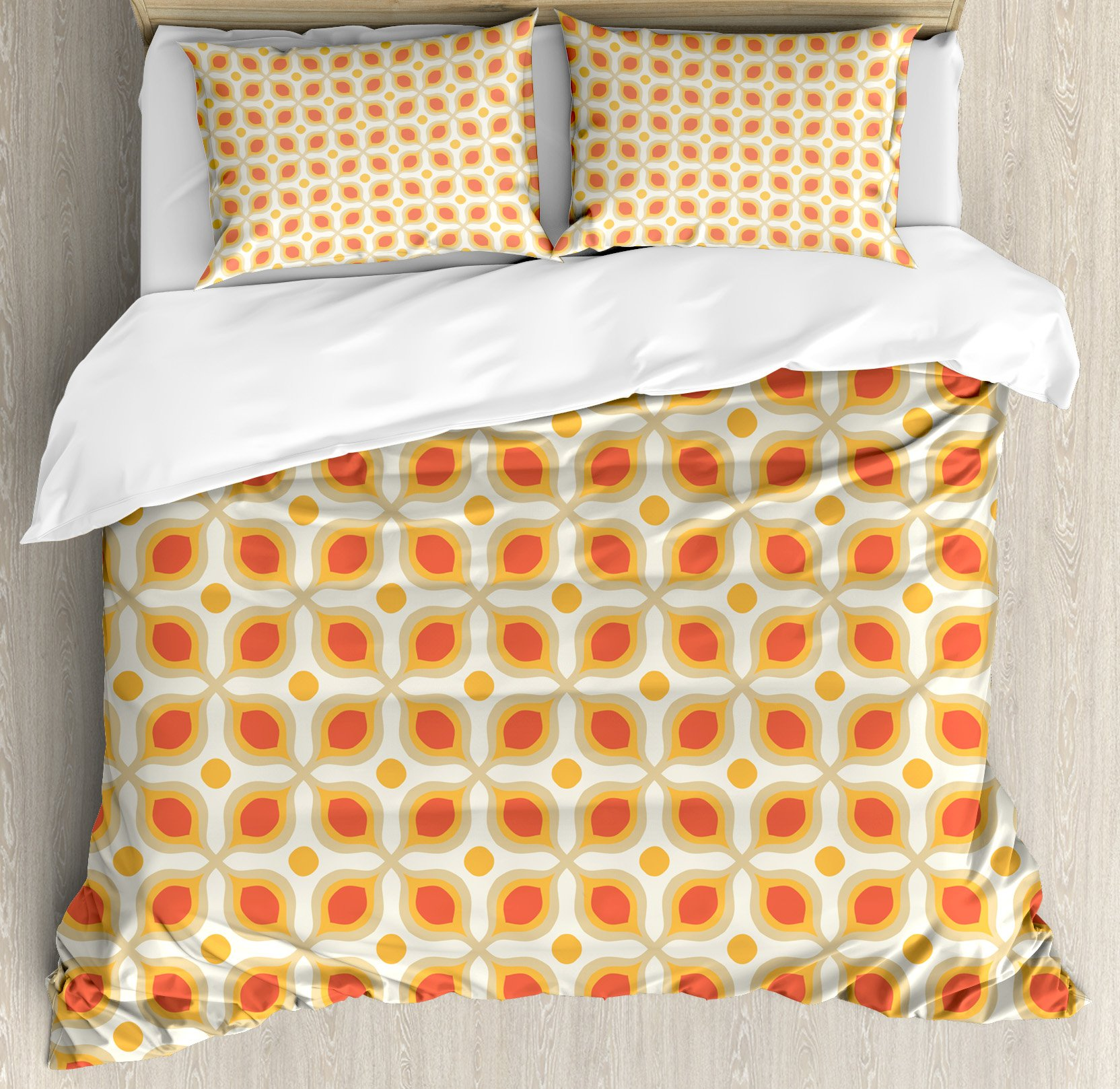 Ambesonne Geometric Duvet Cover Set, Linked Bold Geometric Shapes 70s Vintage Style Minimalist Pattern Boho Home Decor, 3 Piece Bedding Set with Pillow Shams, Queen/Full, Orange Cream