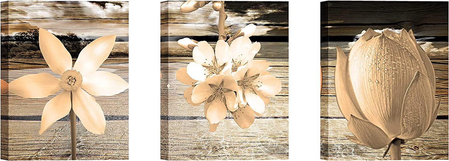 Canvas Art for Living Room Khaki Flower Wall Decor Painting and Brown Background Floral Print Pictures Artwork (12x16inch x3pcs)