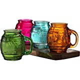 Circleware Family Multi-colored Glass Drinking Glasses Set, 26 Ounce, Set of 4, Mason Jar Beer Mug/cups Embossed Family, Limited Edition Glassware Drinkware Barware Jar Mugs