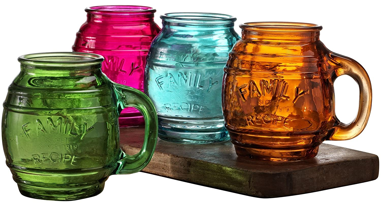 Circleware Family Recipe Glass Barrel Drinking Mugs, Set of 4, 17.5 oz, Clear 66984