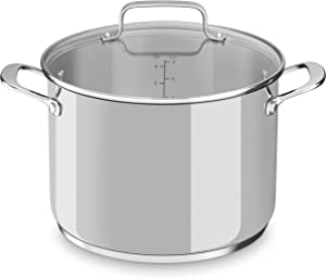 KitchenAid Stainless Steel 8-qt. Stockpot with Glass Lid Oven safe Dishwasher KC2S80SCLS