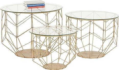 Tavoli Bassi In Vetro.Kare Design Set Di 3 Tavolini Bassi Ottone E Vetro Wire Grid