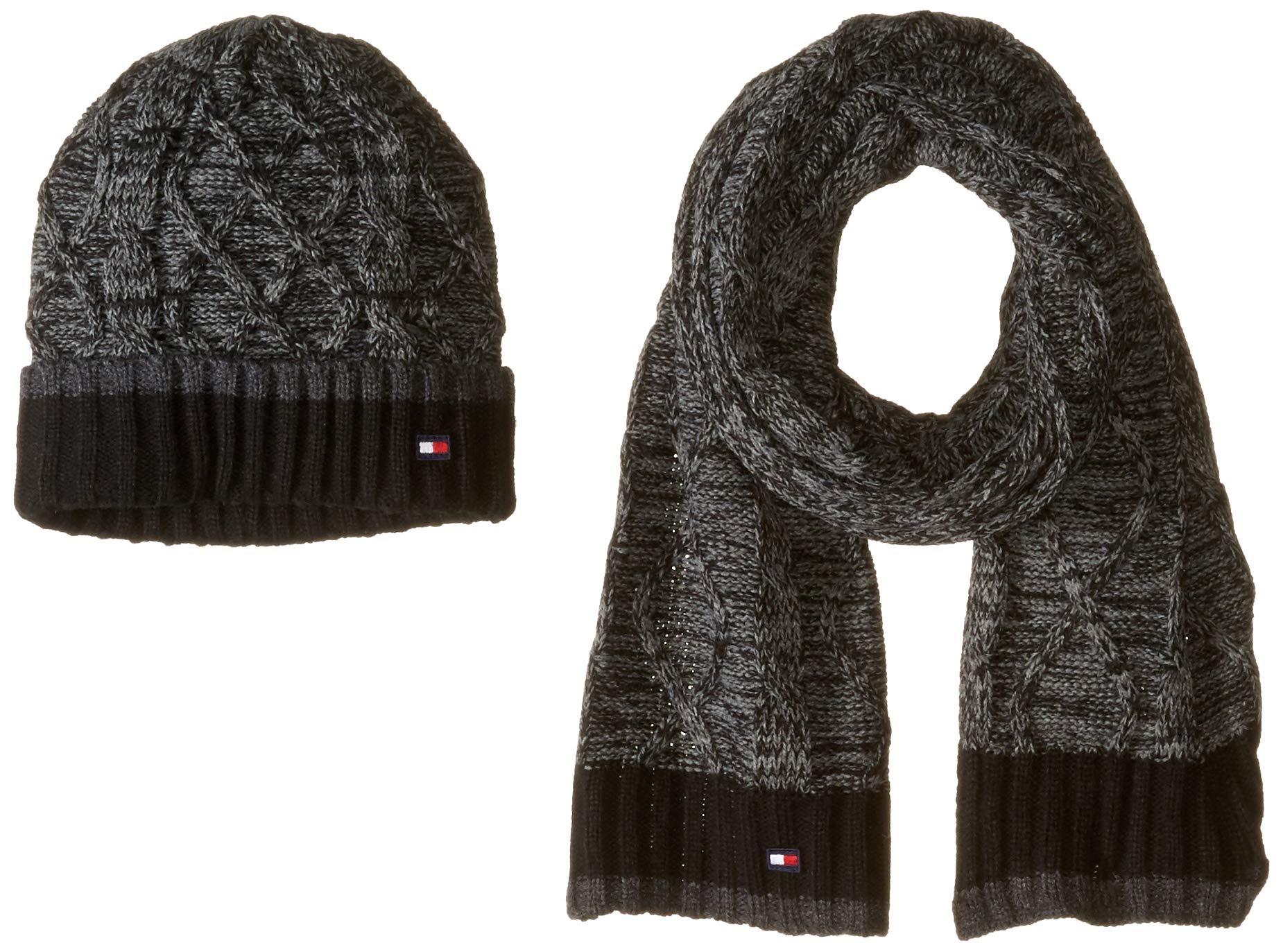 Tommy Hilfiger Men's Hat and Scarf Set, Deep Black, One Size