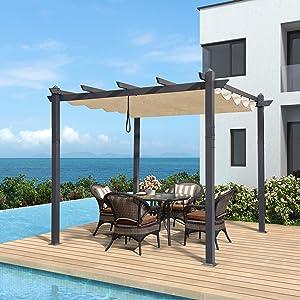 PURPLE LEAF 10' X 10' Aluminum Outdoor Retractable Canopy Pergola Deck Garden Patio Gazebo Grape Trellis Pergola, Beige