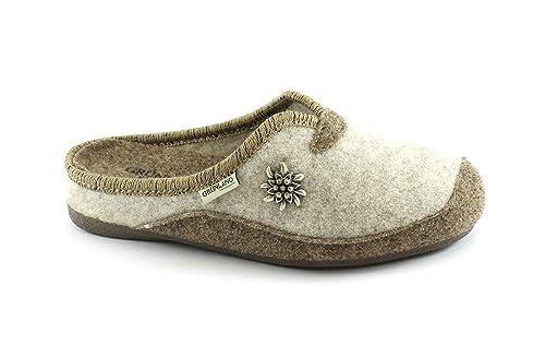 Grunland Grünland ADRI crème de noisette CI0921 pantoufles tricotées dame Beige - Chaussures Chaussons Femme