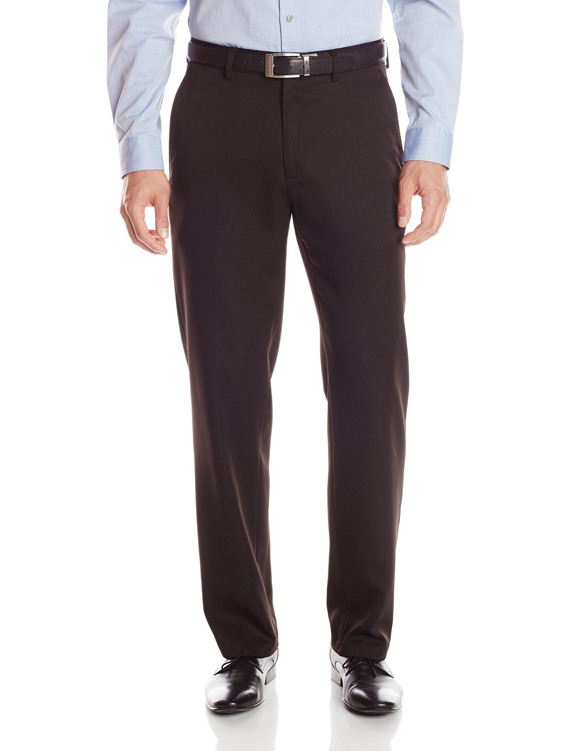 Haggar Men's Performance Solid Gabardine Tailored Fit Plain Front Suit Separate Pant, Black, 34Wx34L