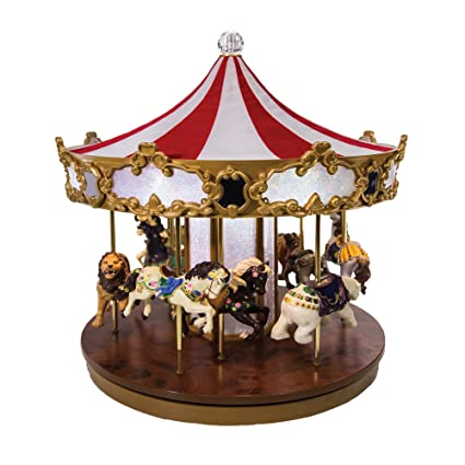 mr christmas shimmering grand carousel music box with 30 songs fabric red white top - Christmas Carousel Decoration
