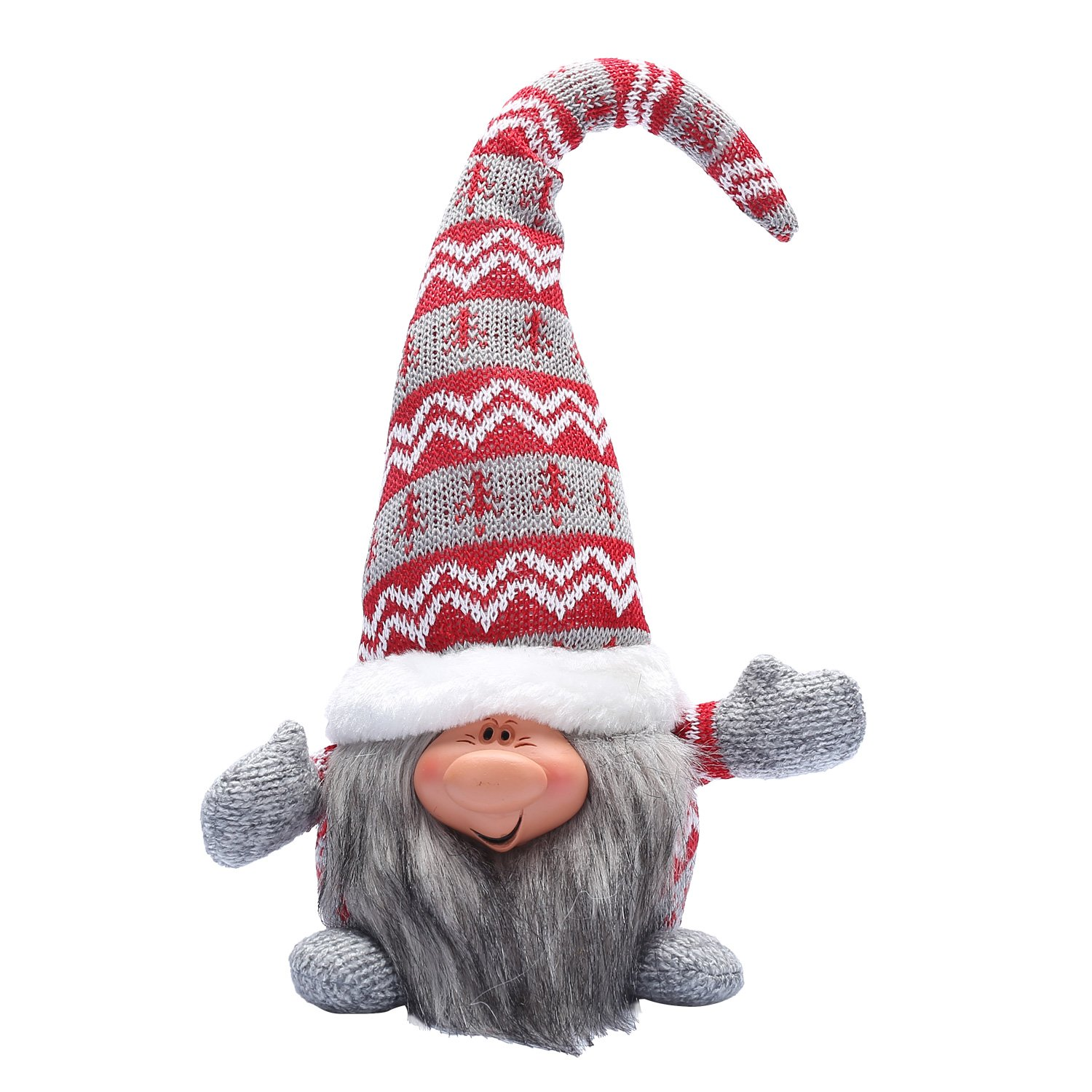 16 Inches Handmade Christmas Gnome Decoration Santa Tomte Holiday Gifts Swedish Face Figurines (Red)