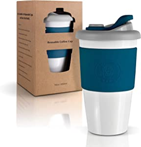 Mr.Cuppie Reusable Coffee Cup with Lid, Coffee To Go Lightweight Travel Mug made of Eco-friendly Material with Non-Slip Sleeve, Dishwasher and Microwave Friendly Coffee Mug (Space Blue, 16oz)