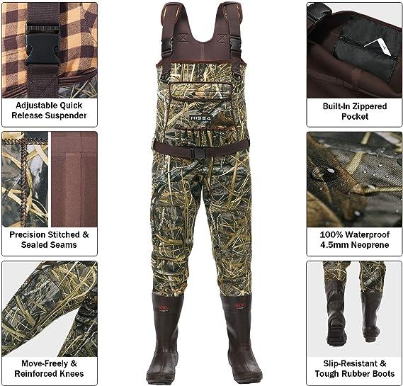 Amazon.com: HISEA Vadeadores de pecho de neopreno para caza ...