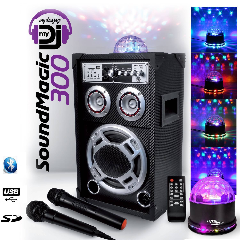 KARAOKE ENFANTS SONO DJ 300W 8 MyDJ à LED - USB/SD/BT SOUNDMAGIC 300 + Sunmagic