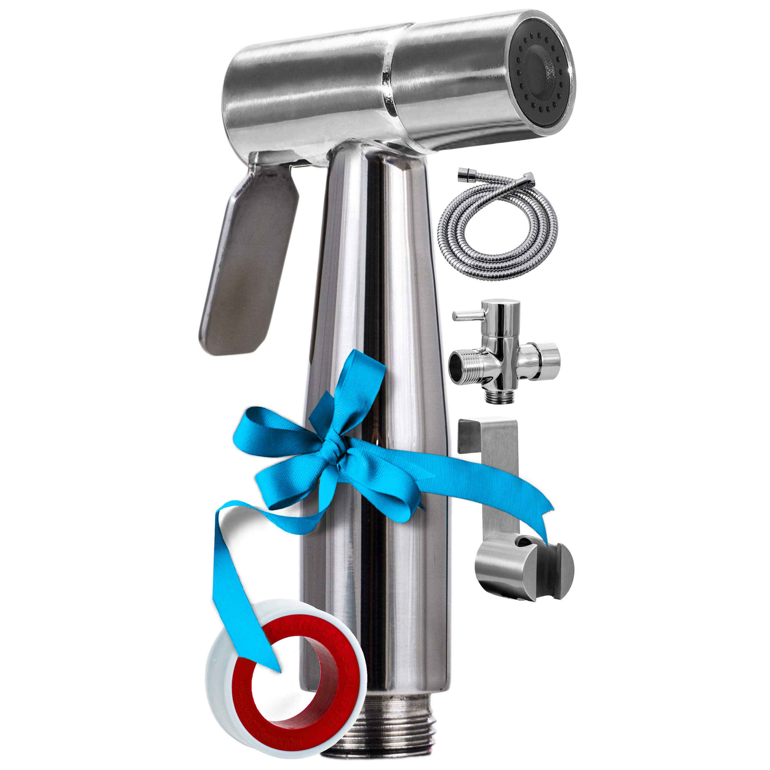 Luxury Handheld Bidet Sprayer-Cloth Diaper Baby Water Shattaf-Personal Hygiene Shower Spray Attachment-59'' Hose-High Pressure/No Leaks-Stainless Steel Brushed Chrome Washer Set for Toilet Bidets