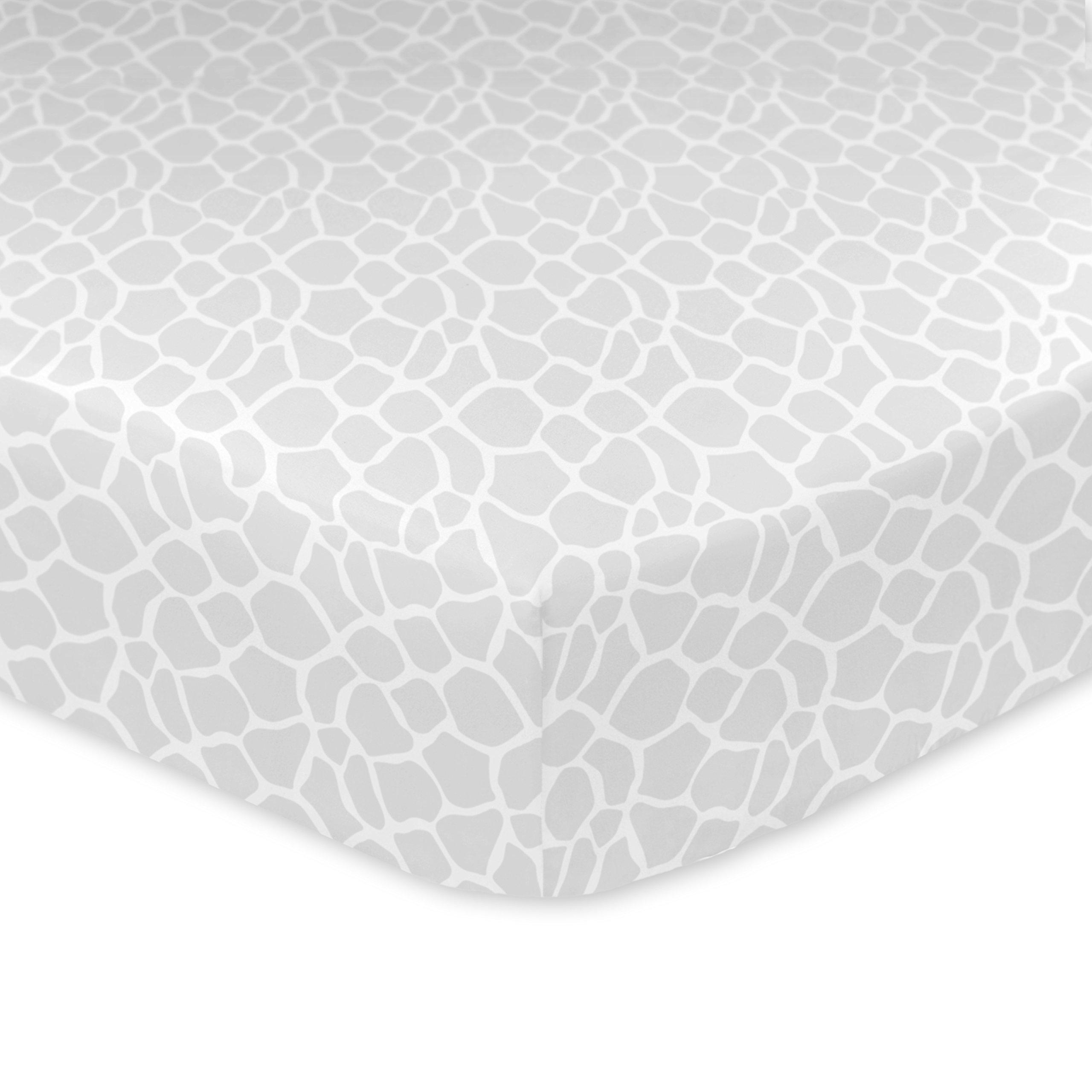 Just Born 100% Cotton Fitted Crib Sheets Animal Kingdom Giraffe Print, Grey