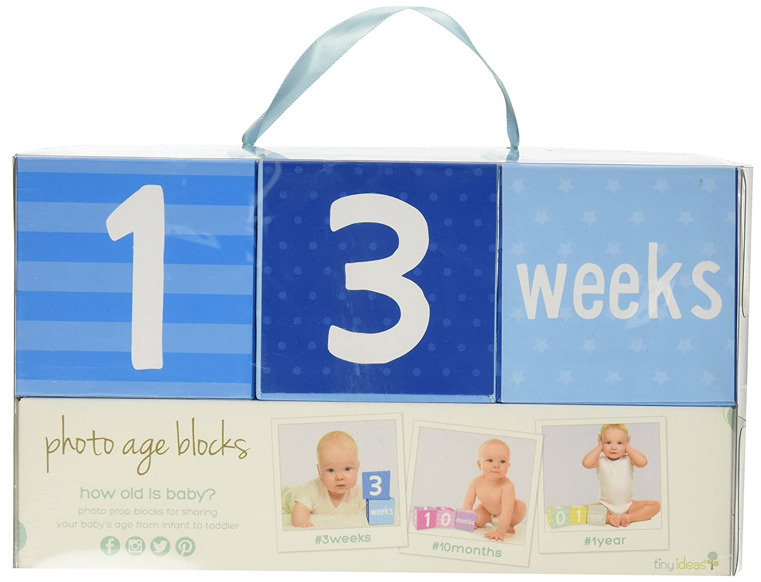 Tiny Ideas Photo Sharing Keepsake Age Blocks, Perfect Gift for New Parents, Blue 96210