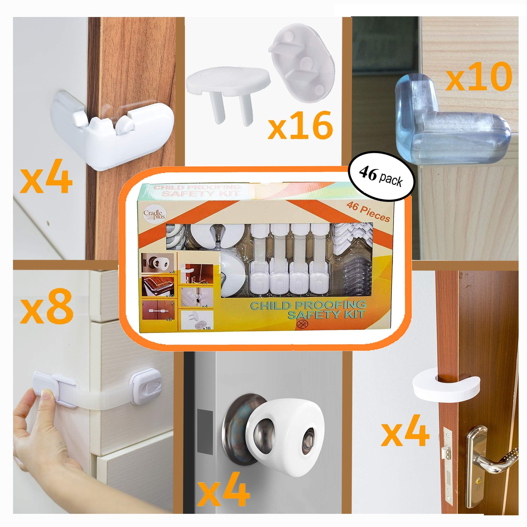Baby Proofing Kit Pack of 46 I Baby Proof 16 Outlet Covers I 4 Door Knob Covers | 8 Cabinet Locks I 4 Drawer Safety Latches | 4 Angle Locks I 4 Door Stopper Pinch Guard I 10 Furniture Corner Protector