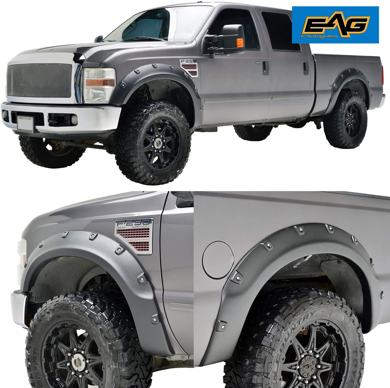 Amazon Com Eag Fender Flares 4pcs Textured Black Pocket Rivet Style Abs Fit For 08 10 Super Duty F250 F350 Automotive