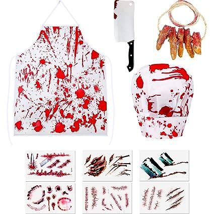 Amazon.com: Juego de disfraz de carnicero sangriento de ...