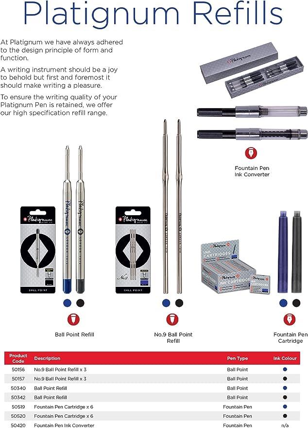 colore inchiostro Penna stilografica in confezione regalo argento blu rosso Platignum Studio