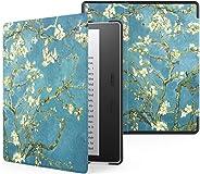 Capa Kindle Oasis, WB, Auto Liga/Desliga Ultra Leve Sensor Magnético, Couro, Flores, Kindle Oasis 10ª e 9ª