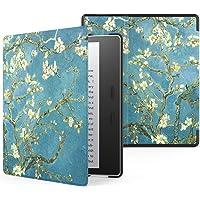 Capa Kindle Oasis WB® Auto Liga/Desliga Ultra Leve Fecho Magnético - Couro Preta (Flores)