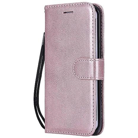 DENDICO Funda Galaxy S6 Edge Plus, Flip Libro Cuero Carcasa, Diseño Clásico Funda Plegable Cover para Samsung Galaxy S6 Edge Plus - Rosa