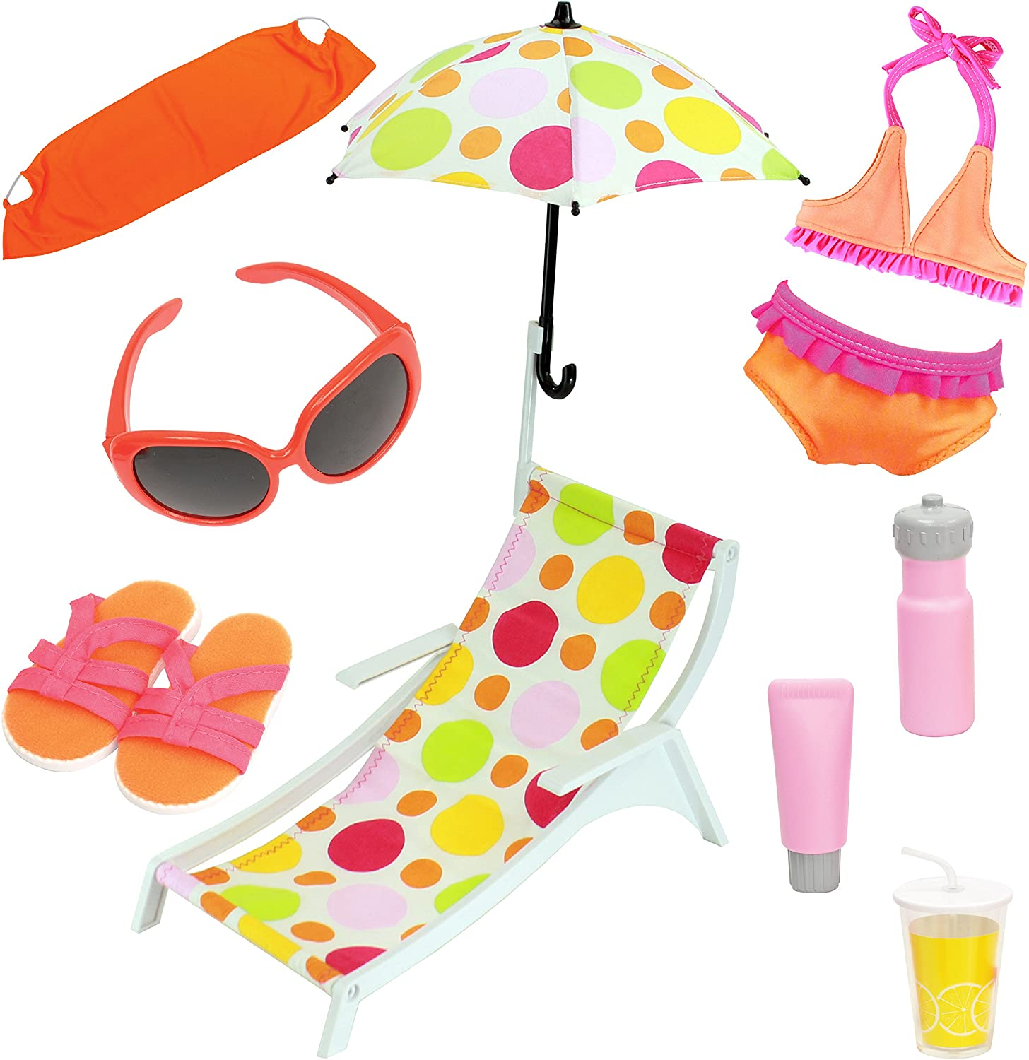 Beverly Hills Doll Accessories Doll Beach Set with Swimsuit and Accessories, 10 Piece Beach and Pool Playset, Fits 18 Inch American Girl Doll, Great Value Pack, Doll Not Included