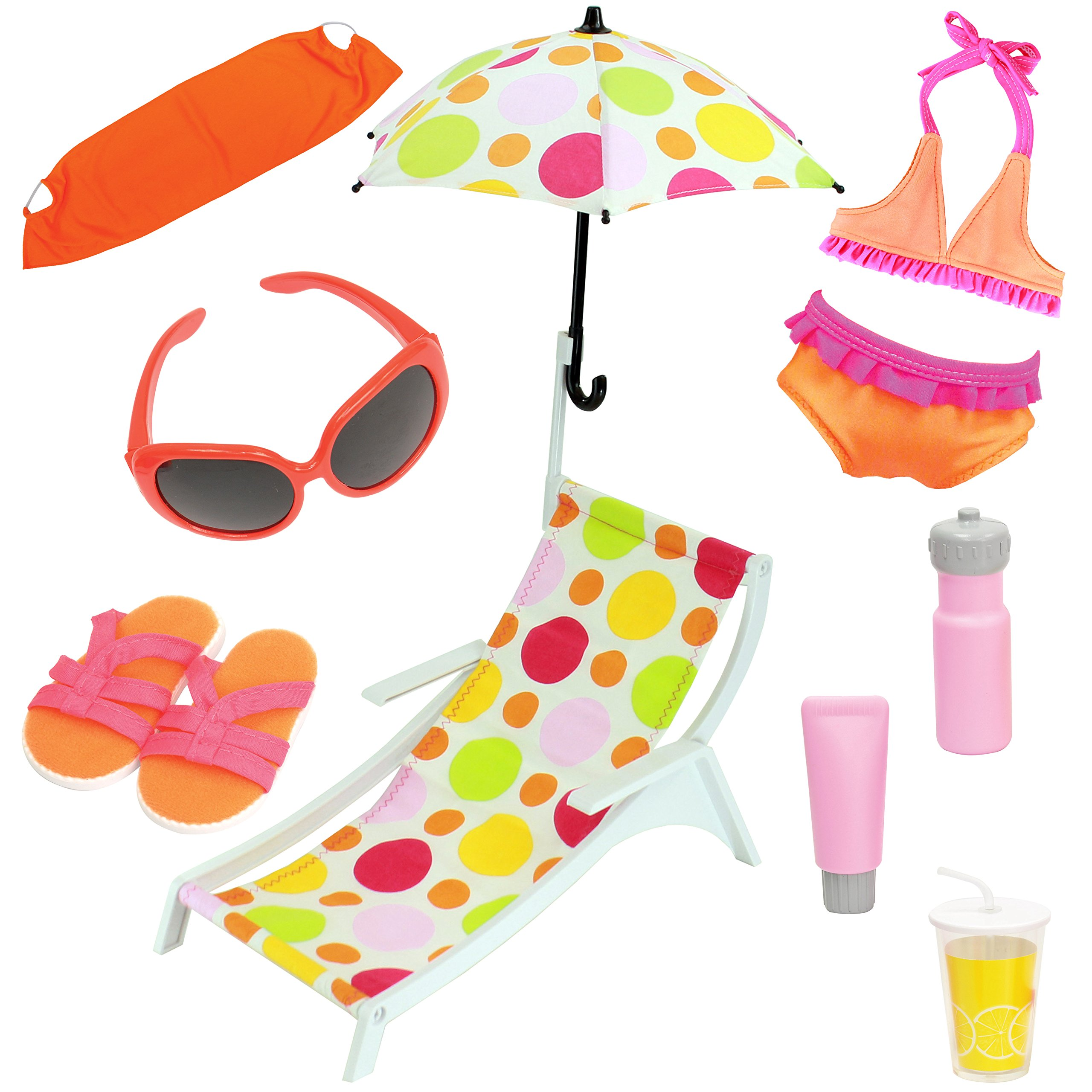 Beverly Hills 10 Piece 18 Inch Doll Beach Set And Accessories. Fits American Girl Dolls - GREAT VALUE PACK!!!Doll Not Included
