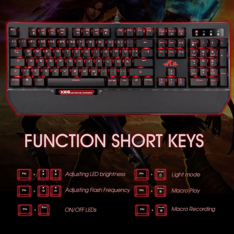 Rii Gaming Mecánica Teclado, 104/105 teclas con cable USB LED iluminado Juegos Keyboard (de disposición) 105 Rot: Amazon.es: Informática