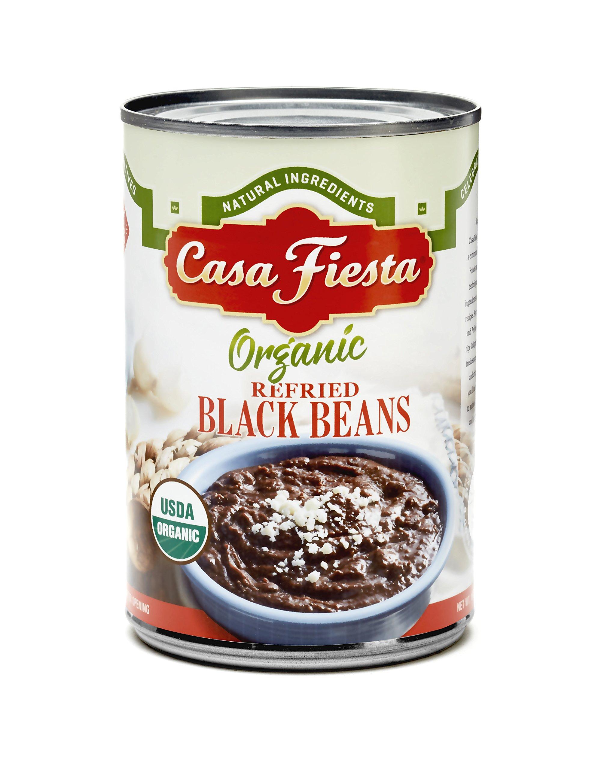 Casa Fiesta Organic Refried Black Beans 16 oz 12 pack