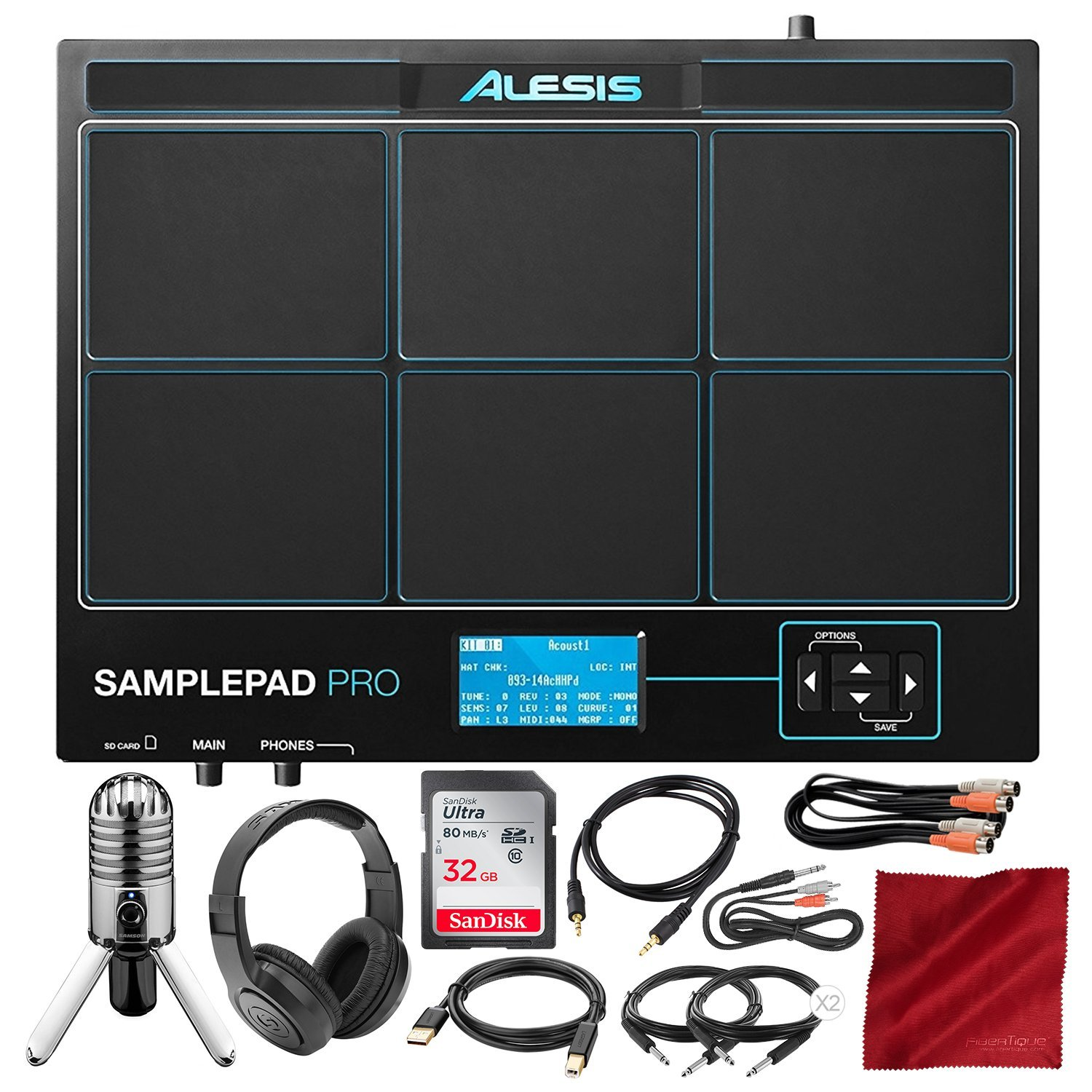 Alesis Sample Pad Pro 8-Pad Percussion and Triggering Instrument with Samson Meteor Mic USB Microphone, Headphones, 16GB Card, and Assorted Cables Bundle by Alesis
