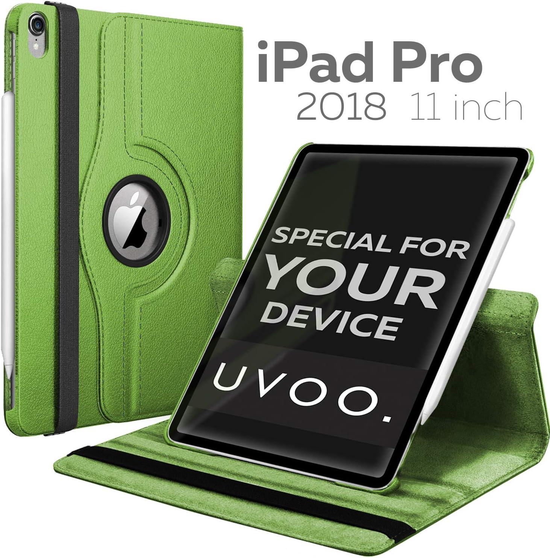 iPad Pro 11 Case 2018-360 Rotating iPad Case - Auto Wake/Sleep Smart PU Leather Cover - Back Protector for 11 inch iPad Pro (Green)