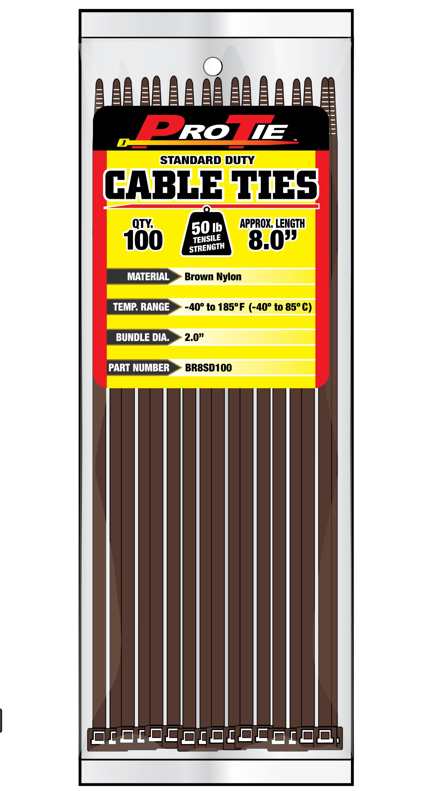 Pro Tie BR8SD100 8-Inch Brown Standard Duty Color Cable Tie, Brown Nylon, 100-Pack by Pro Tie
