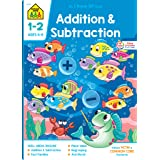 School Zone - Addition & Subtraction Workbook - 64 Pages, Ages 6 to 8, 1st & 2nd Grade Math, Place Value, Regrouping, Fact Ta