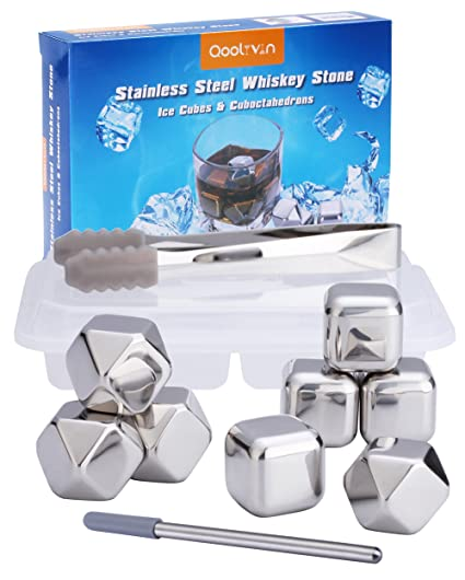 Cubos de Hielo de Acero Inoxidable Para Whisky, Set de 8 Cubitos On the Rocks, Qoolivin Piedras Reutilizables para Vino, Whisky Chilling Stones con ...