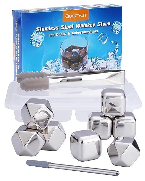 Cubos de Hielo de Acero Inoxidable Para Whisky, Set de 8 Cubitos On the Rocks, Qoolivin Piedras Reutilizables para Vino, Whisky Chilling Stones con ...