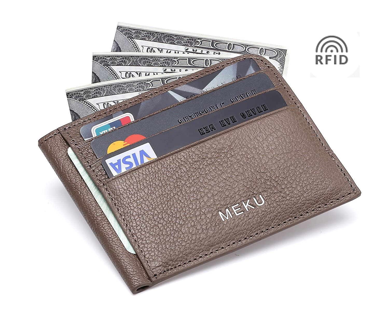 Slim Wallet - Minimalist Front Pocket Wallet - Leather Money Clip Wallet Card Holders RFID Blocking LCC007