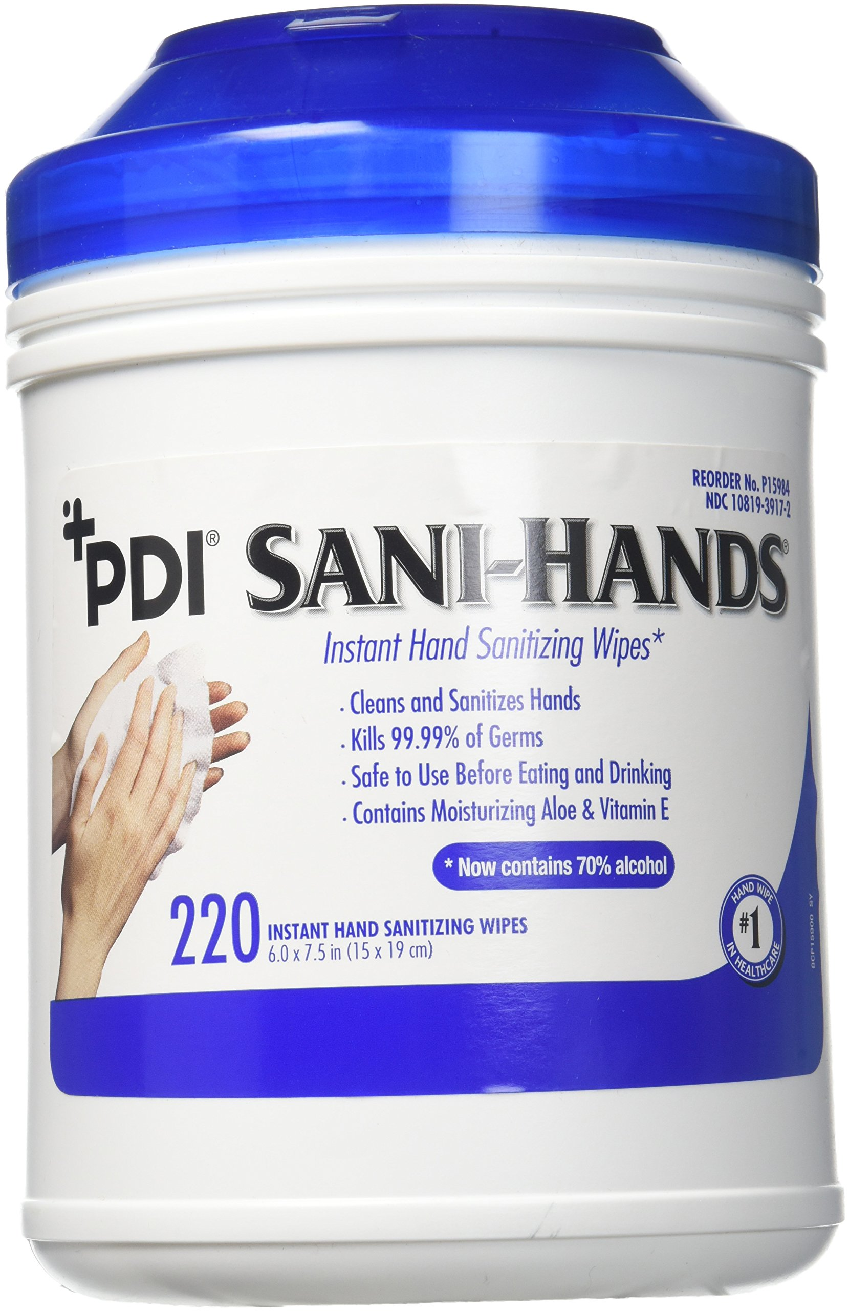 PDI Sani-Hands Antimicrobial Alcohol Gel Hand Wipes Canister 6''X7.5'' 220 Each / Canister
