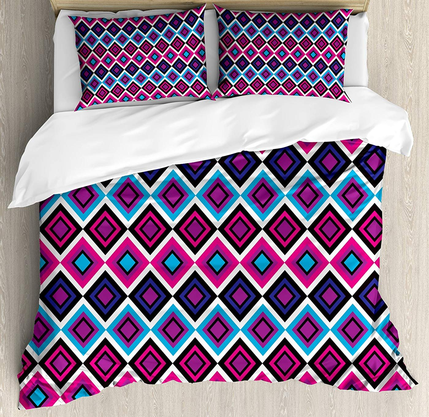 Multi 3 Queen Eye Duvet Cover Set Twin Size, Flirty Attractive Woman with bluee Eyes and Thick Lashes Beauty Glamor Youth,Lightweight Microfiber Duvet Cover Sets, bluee Black Pale Grey