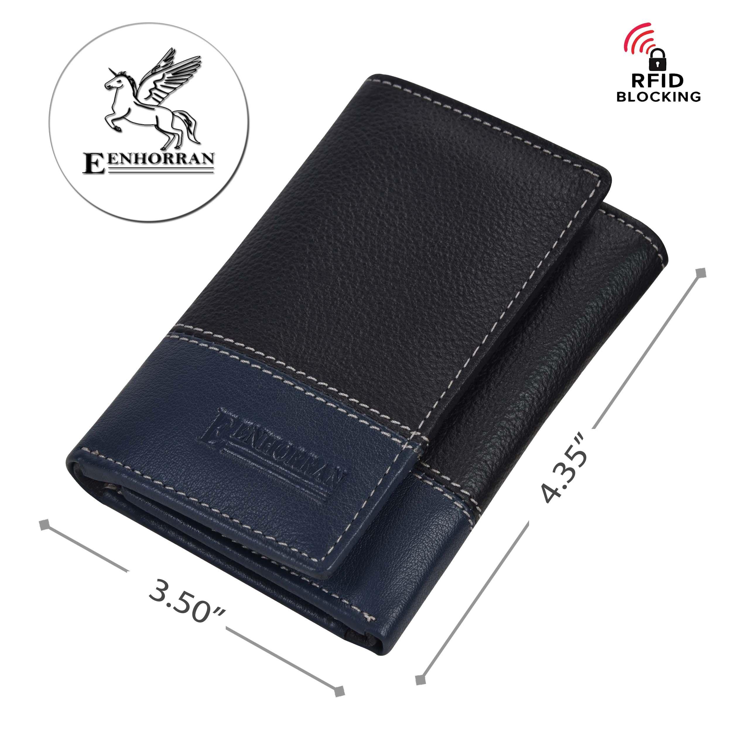 RFID Leather Trifold Wallets for Men - Handmade Slim Mens Wallet 6 Credit Card ID Window and Gift Box Secure by EENHORRAN (Black & Navy) by EENHORRAN (Image #4)