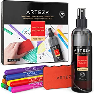 Arteza Whiteboard Cleaner Set with 12 Fine-Tip Dry-Erase Markers, Magnetic Eraser & an 8-ounce Cleaner, Office Supplies for Whiteboards, Lapboards, and Glass Boards