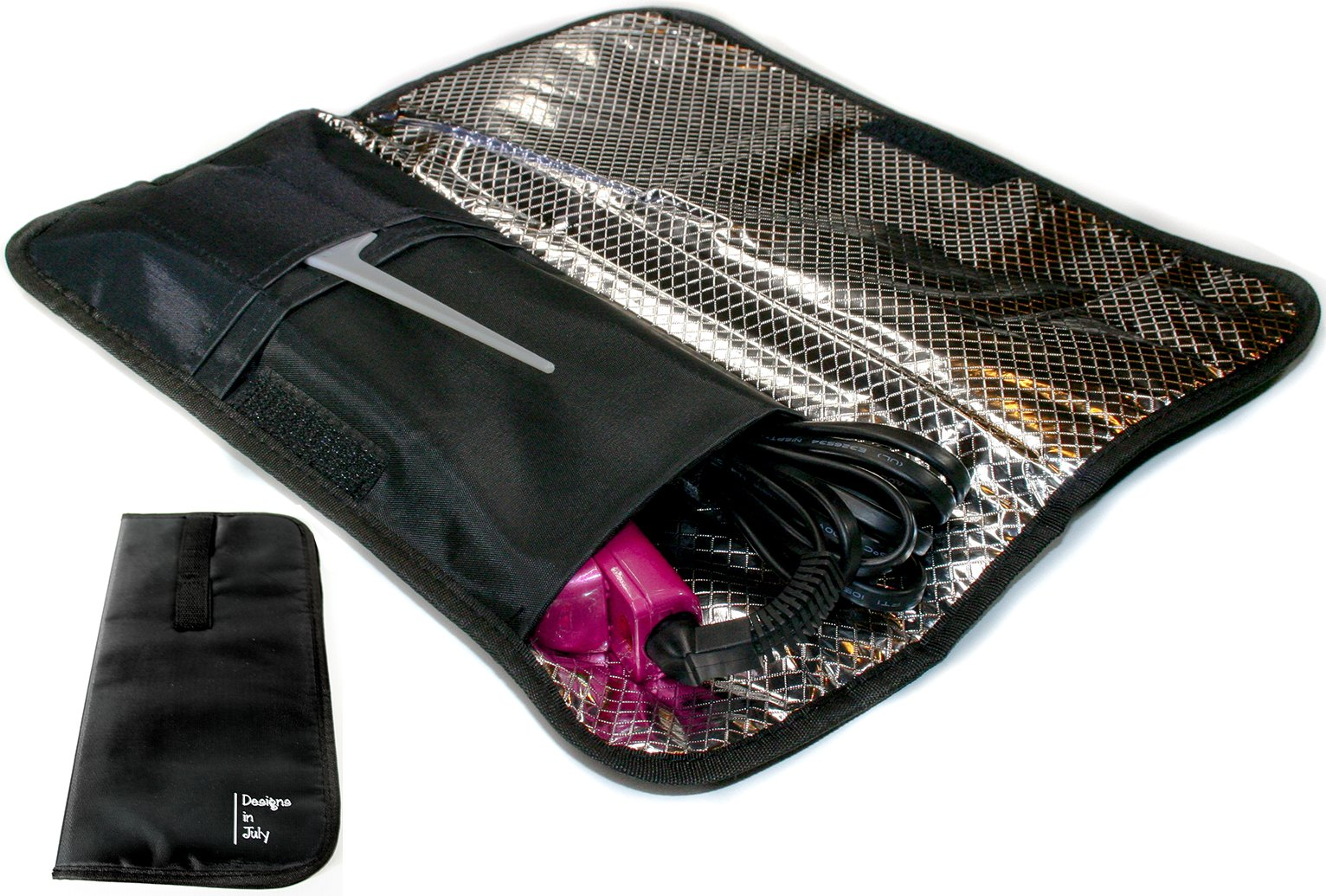 Designs In July Flat Iron Case. Color Option Heat-Resistant Travel Case With Straps for Curling Iron or Hair Straightener. Black