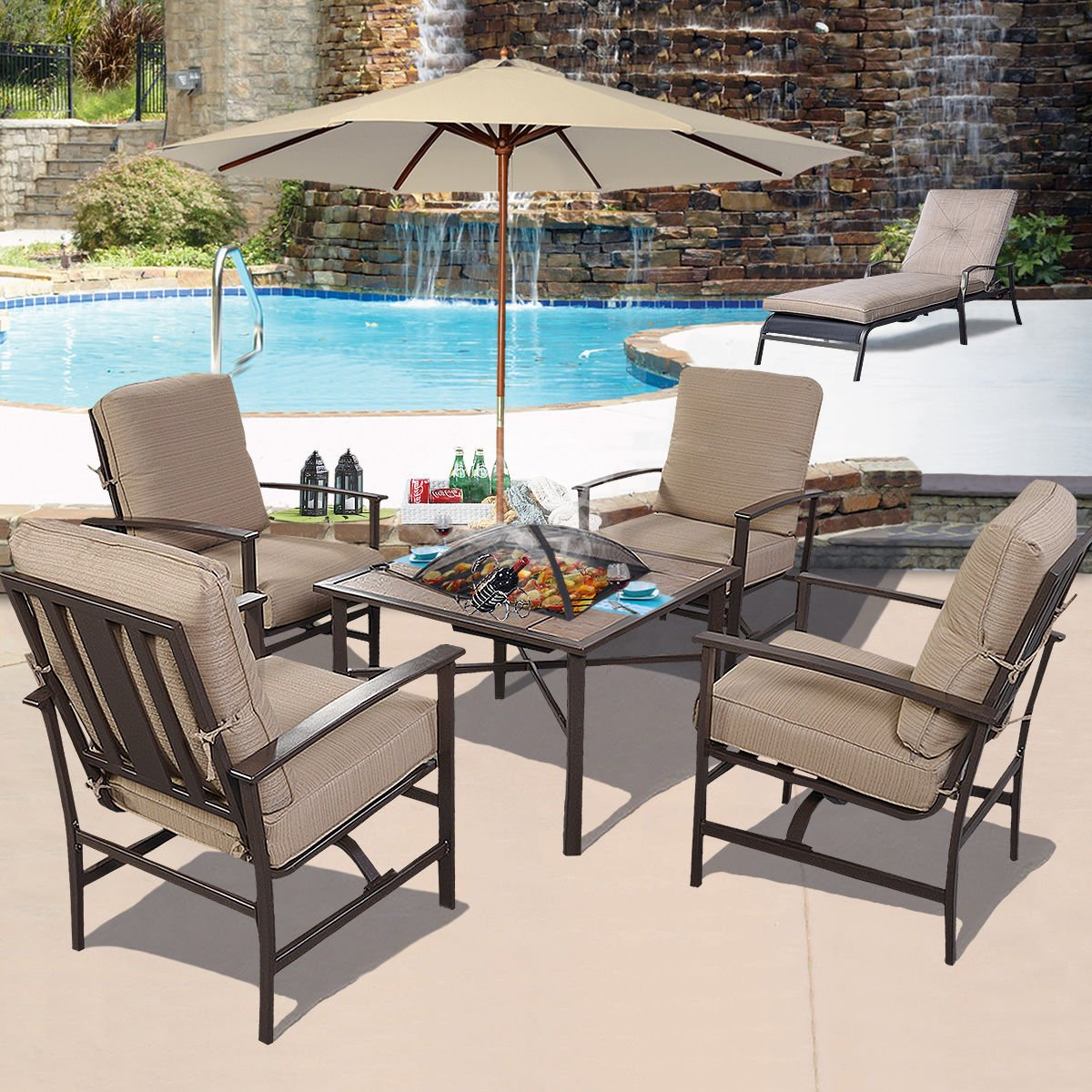 amazoncom ghp outdoor patio 5piece chair u0026 bbq stove fire pit table furniture set w umbrella patio lawn u0026 garden