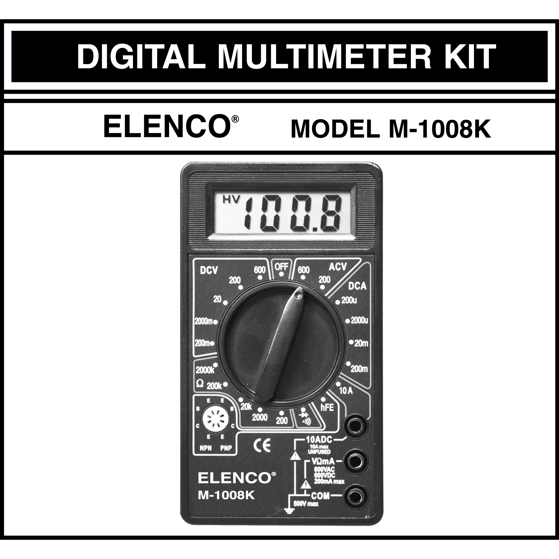 Elenco M-1008K - Digital Multimeter Solder Kit | Lead Free Solder | Great STEM Project | Soldering Required by Elenco (Image #3)