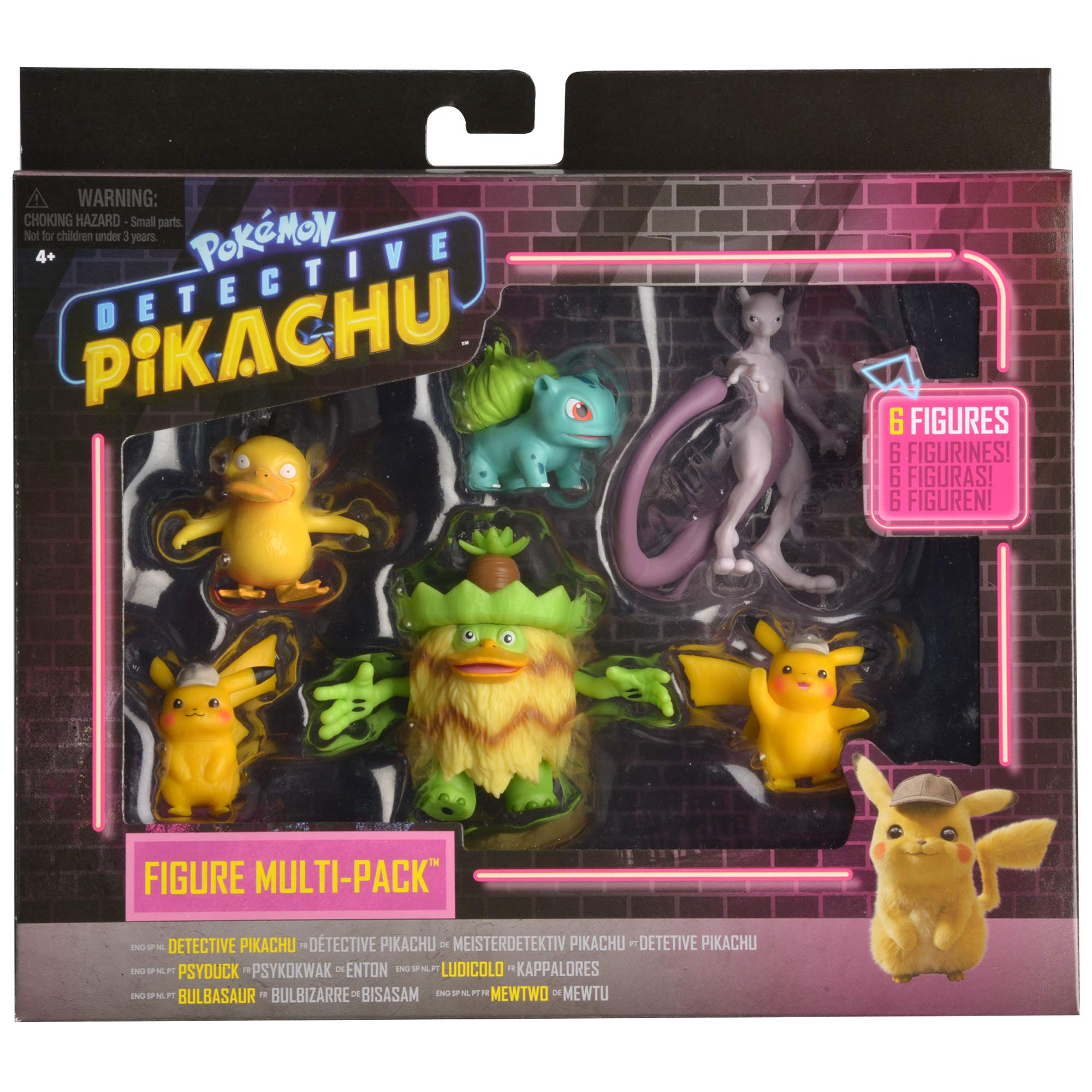 Detective Pikachu Battle Action Figure 6-Pack - Includes two 2'' Detective Pikachu Figures, 2'' Psyduck, 2'' Bulbasaur, 3'' Mewtwo, and 3'' Ludicolo by Pokemon (Image #2)